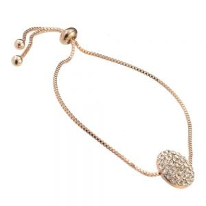 Gift Boxed Fashion Bracelet: Rose-Gold adjustable toggle Bracelet with simple Crystal coin design (GR68)