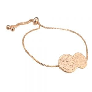 Gift Boxed Fashion Bracelet: Multi-Tone adjustable toggle Bracelet with simple coin design