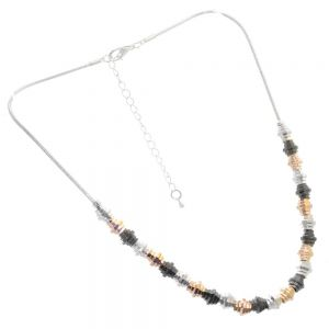Gift Boxed Fashion Bracelet: Multi-Tone Necklace with a edgy cog design 42 cm (GR50)