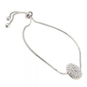 Gift Boxed Fashion Bracelet: Silver adjustable toggle Bracelet with simple Crystal coin design (GR69)