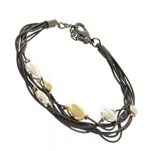Fantastic Fashion Jewellery: Multi-Layered Hematite Tone Bracelet with Silver and Gold Tone Disc Detail