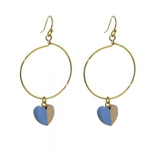 Lovely Fashion Jewellery: Gold Hoop Drops with Wood and Blue Resin Heart Charms (6cm x 3cm) (I7)b)