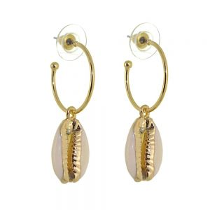 Striking Fashion Jewellery: 2cm Gold Hoops with Creamy Cowrie Shell Drops (Full length 3.9cm) (I9)