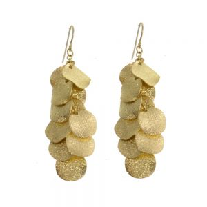 Fashion Jewellery: Shimmery Gold Disc Drop Earrings