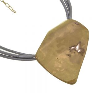 Statement Fashion Jewellery: Short Grey Leather Triple Cord Necklace with Large Gold Dimpled Curling Abstract Pendant