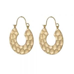 Contemporary Fashion Jewellery: Chunky Worn Gold Hammered Hoop Earrings (3.2cm x 2.4cm) (I14)g)