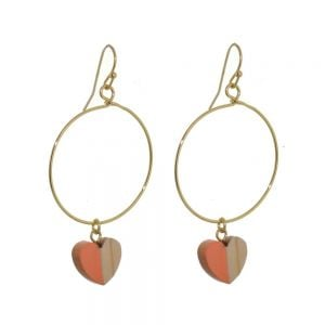 Lovely Fashion Jewellery: Gold Hoop Drops with Wood and Orange Resin Heart Charms (6cm x 3cm) (I7)o)