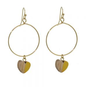 Lovely Fashion Jewellery: Gold Hoop Drops with Wood and Yellow Resin Heart Charms (6cm x 3cm) (I7)y)