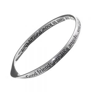 Silver Plated Bangle Good friends are like angels… you don't have to see them to know they are there… … Quote Bangle