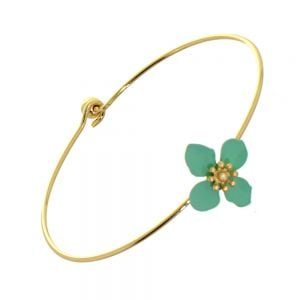 Beautiful Fashion Jewellery: Simple Gold Bangle with Wooden and Mint Green Acrylic Flower (6cm Diameter) (I20)g)