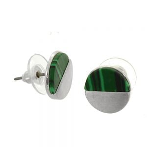 Colourful Fashion Jewellery: Small Matt Silver and Green Agate Acrylic Circle Stud Earrings (1.2cm) (I16)g)