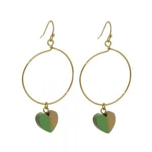 Lovely Fashion Jewellery: Gold Hoop Drops with Wood and Green Resin Heart Charms (6cm x 3cm) (I7)g)