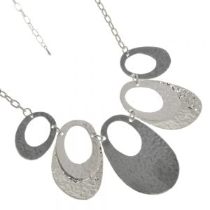 Fabulous Fashion Jewellery: Statement Necklace with Hammered Oval Pendants in Shiny Silver and Matt Grey and White Colours
