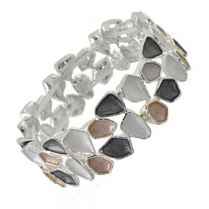 Unique Fashion Jewellery: Stretch Bracelet with Abstract Geometric Shapes in Black, White and pale Brown Tones