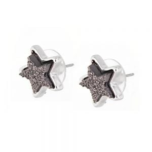 Celestial Fashion Jewellery: Delicate 1.5cm Iridescent Grey Druzy Stars Stud Earrings (M164)C)