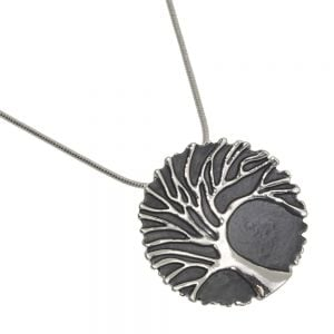 Elegant Fashion Jewellery: Silver Tree of Life Pendant With Grey Background and Lacy Frilled Edge