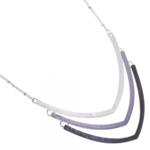 Elegant Fashion Jewellery: Simple Silver and Matt Grey  Ombre V-Shaped Necklace
