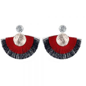 Statement Fashion Jewellery: Extra Large 7cm Fan Earrings with Red and Navy Fringe and Hammered Detail (yk202)