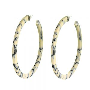 Contemporary Fashion Jewellery: 5cm Diameter Hoops with Marbled Black and Cream Pattern (M299)