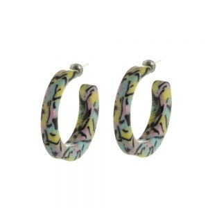 Quirky Fashion Jewellery: 3.1cm Diameter Chunky Hoops with Marbled Pastel Pink, Yellow and Pistachio Green Pattern (M373)