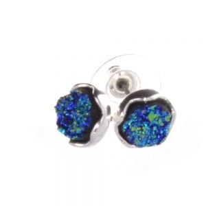 Unique Fashion Jewellery: Stunning Silver and Blue Druzy Stud Earrings