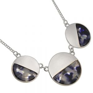 Contemporary Fashion Jewellery: BlueTone Necklace with Three Marbled Look Circles