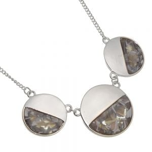 Contemporary Fashion Jewellery: Grey Tone Necklace with Three Marbled Look Circles