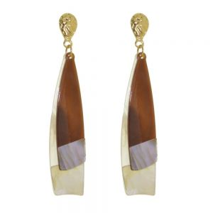 Unusual Statement Fashion Jewellery: Chunky Brown Acrylic Teardrops with Pearlescent Shell Elements (9cm Drops)