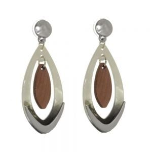 Unusual Statement Fashion Jewellery: Chunky Grey Acrylic Teardrops with Wooden Elements