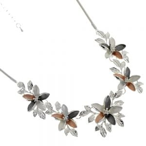 Floral Fairytale Fashion Jewellery: Beautiful Silver and Matt Coppery Pink and Black Finish Necklace with Flower and Leaf Pendants
