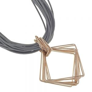 Magnetic Fashion Jewellery: Taupe Leather Necklace with Rose Gold Diamond Shape Pendant