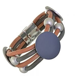 Fabulous Magnetic Fashion Jewellery: Burnt Orange and Grey Neoprene Multi-Cord Bracelet with Large Matt Silver and Navy Discs