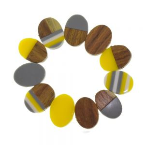 Fashion Jewellery - RESIN & WOOD BRACELET IN YELLOW AND GREY (M172B)Y