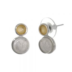 Pretty Fashion Jewellery: Matt Metallic yellow and Opalescent White Stud Earrings