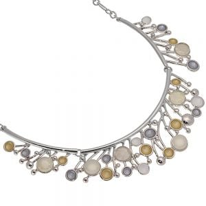 Pretty Fashion Jewellery: Short Necklace with Matt Grey, Yellow and Opalescent White Droplets