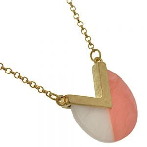 Contemporary Fashion Jewellery: Gold, Pink and White Marbled Effect Geometric Pendant (I6)pink)