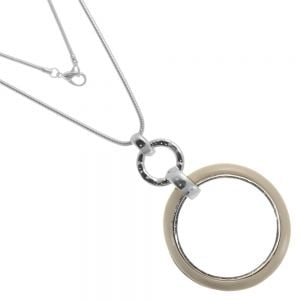 Statement Fashion Jewellery: Long Necklace with Large Taupe Circle Outline Pendant