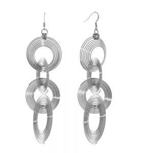 Contemporary Fashion Jewellery: Statement Silver Tone Wire Circles Design Earrings