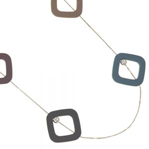 Gracee Fashion Jewellery: Adjustable Toggle Snake Chain Necklace with Rounded Square Pendants in Autumnal Tones of Green, Pink, Taupe, Purple, Black and Blue (GR73)