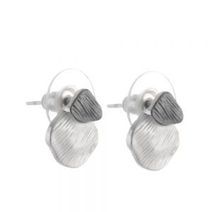 Unusual Fashion Jewellery:  Textured Overlapping White and Grey Stud Earrings  (R42