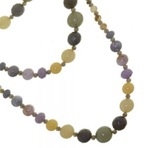 Statement Fashion Jewellery: Long Necklace With Stunning Stone Effect Beads in Earthy, Neutral Tones (M385)