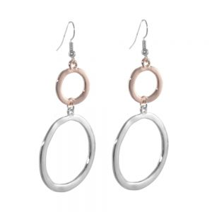 Statement Fashion Jewellery: Large Double Circle Rose Gold Drop Earring