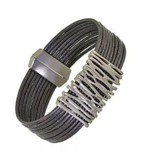 Magnetic Fashion Jewellery: Elegant Dark Grey Multi-Stranded Leather Bracelet with Matt Silver Organix Rectangle Design