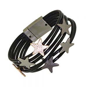 Magnetic Fashion Jewellery: Elegant Dark Grey Multi-Stranded Leather Bracelet with Matt Dimpled Silver, Rose Gold and Black Hematite Stars