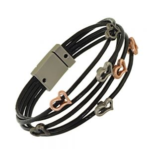 Magnetic Fashion Jewellery: Elegant Dark Grey Multi-Stranded Leather Bracelet with Silver, Rose Gold and Black Hematite Squashed Heart Outlines