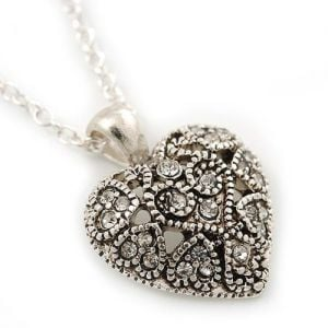 Silver and Crystal marcasite Heart Necklace