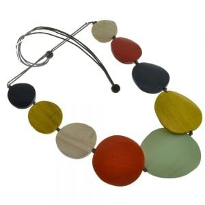 Fashion Jewellery: Adjustable Grey Cord Mid-Length Necklace with Wooden Orange, Pistachio, Navy and Red Discs (M570)o)