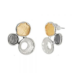 Mixed Metal Fashion Jewellery: Silver, Gold and Grey Finish Triple Circle Studs