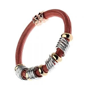 Festival Fashion Jewellery: Coral Cord Stretch Bracelet with Multi Tone Beads