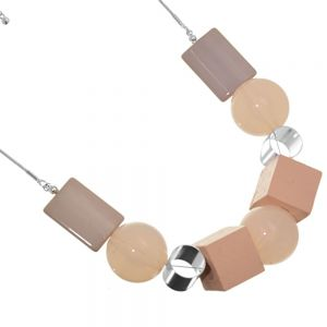 Statement Fashion Jewellery: Sphere, Cube and Rectangle Shape Necklace in Dusty Pink and Peach Tones